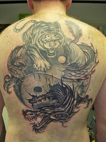 tatuajes dragones tigres yin yang 1 - tatuajes de dragones