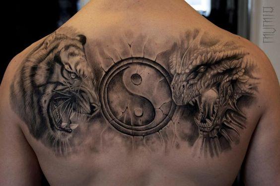 tatuajes dragones tigres yin yang 2 - tatuajes de dragones