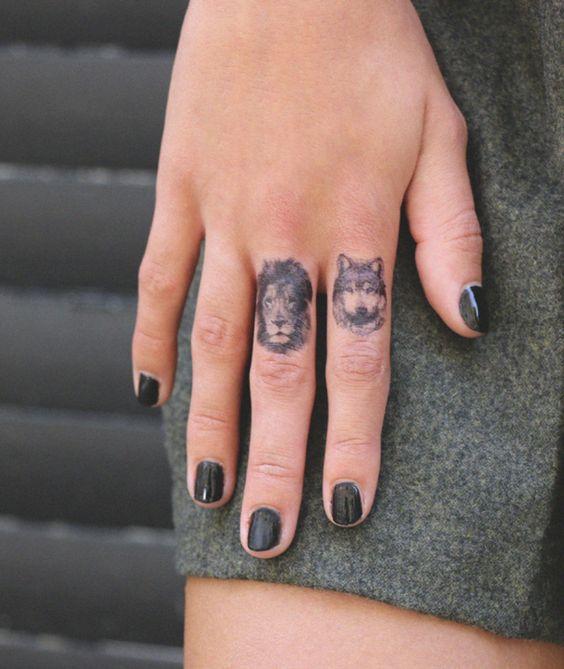 tatuajes leon dedo pequeños 3