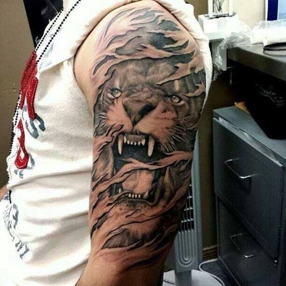 tatuajes leones realistas 3D 3 - leones
