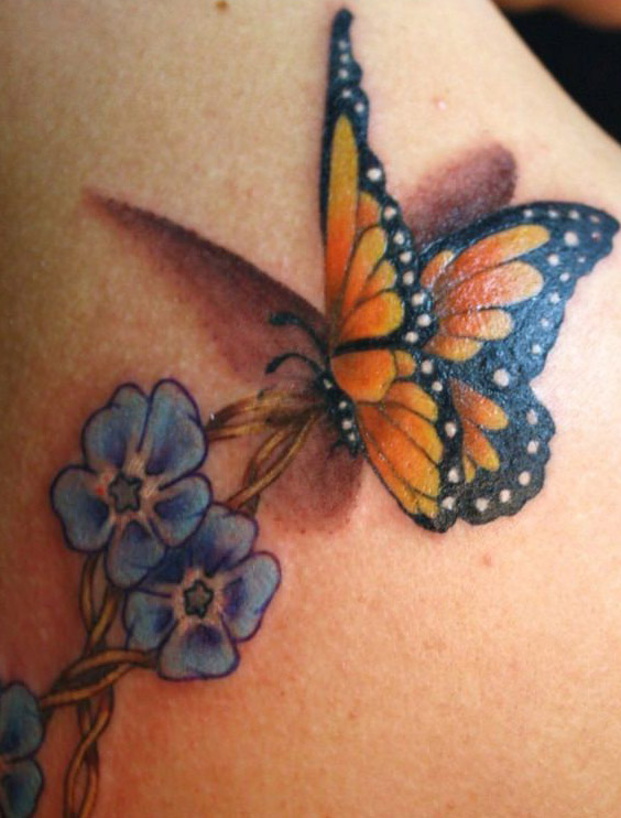 tatuajes mariposas con flores 3 - tatuajes de mariposas
