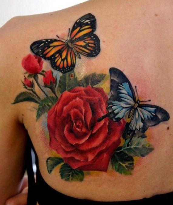 tatuajes mariposas con flores 4 - tatuajes de mariposas