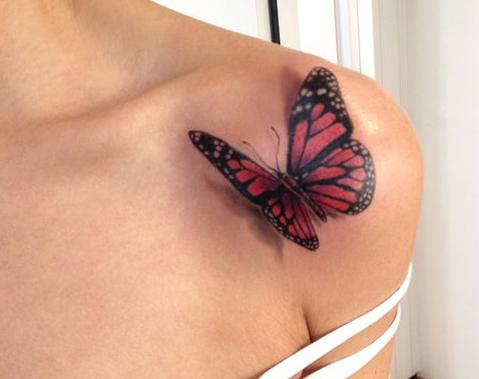 tatuajes mariposas realistas 3D 3 - tatuajes de mariposas