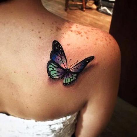 tatuajes mariposas realistas 3D 4 - tatuajes de mariposas