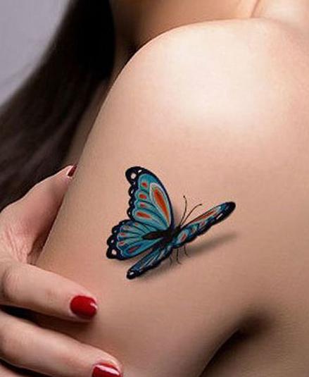 tatuajes mariposas realistas 3D 5 - tatuajes de mariposas