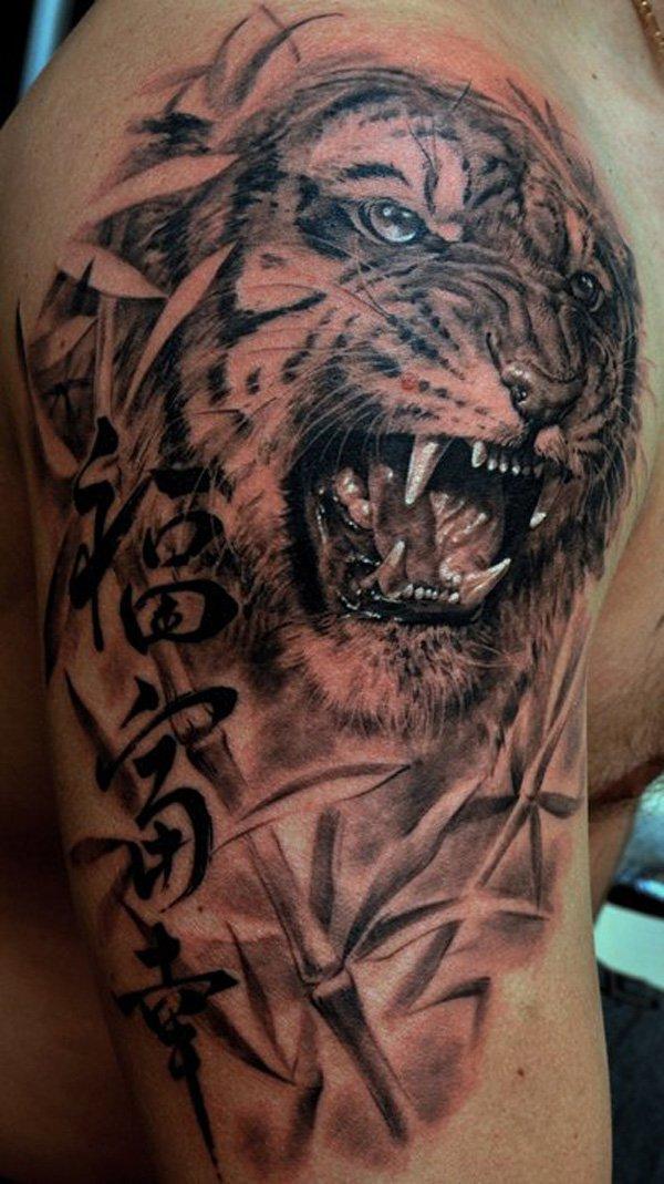 65 Tatuajes De Tigres Y Sus Significados Tatuajes Geniales - Tatuajes-de-hombro-y-brazo