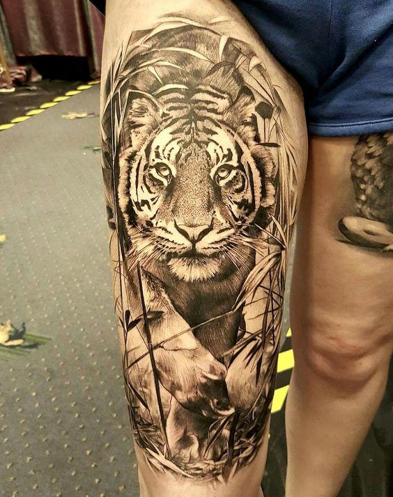 tatuajes tigres en la pierna rodilla tobillos 4 - tigres