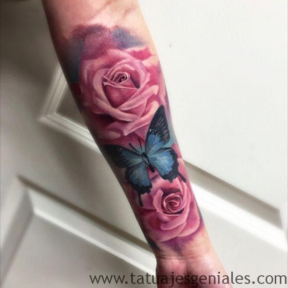 tatuaje mariposa rosas 1
