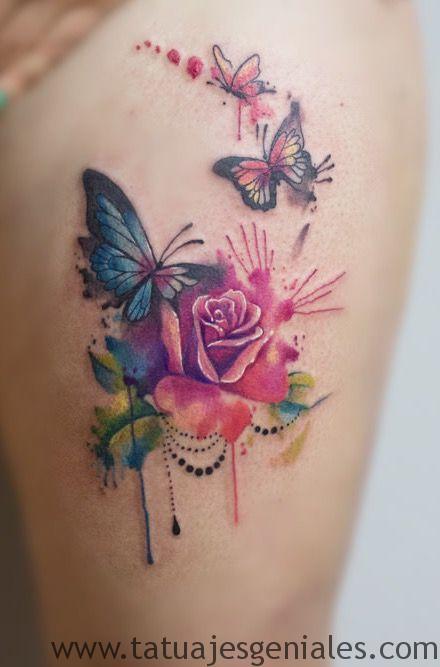 tatuaje mariposa rosas 2