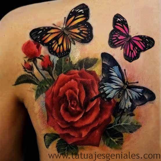 tatuaje mariposa rosas 3