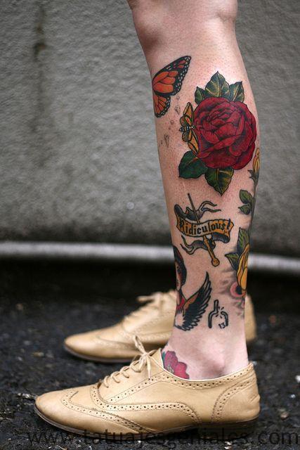 tatuaje mariposa rosas 4