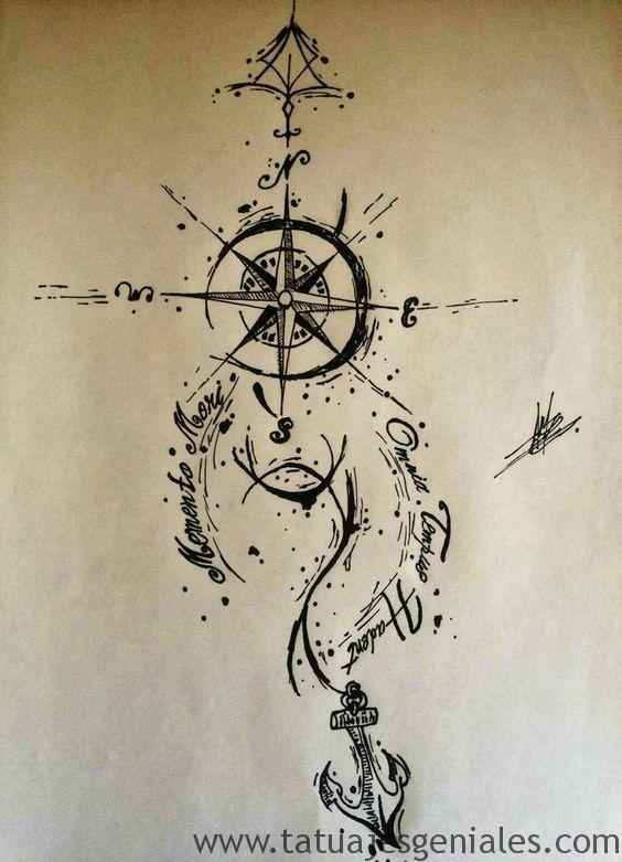 diseños tatuajes brújulas 3