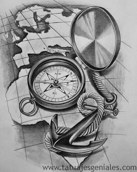 diseños tatuajes brújulas 6