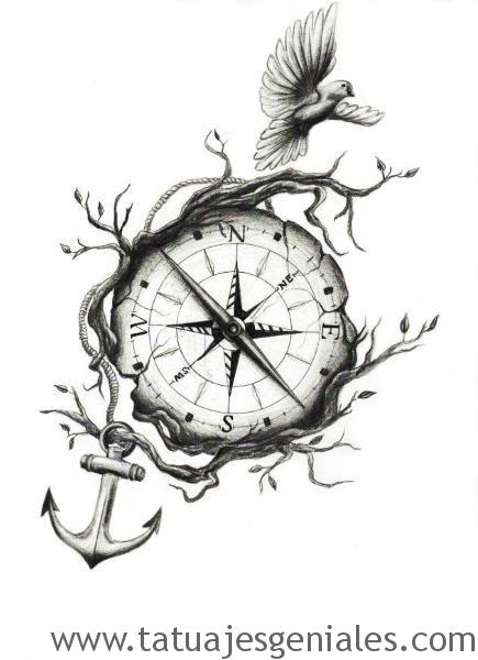 diseños tatuajes brújulas 7