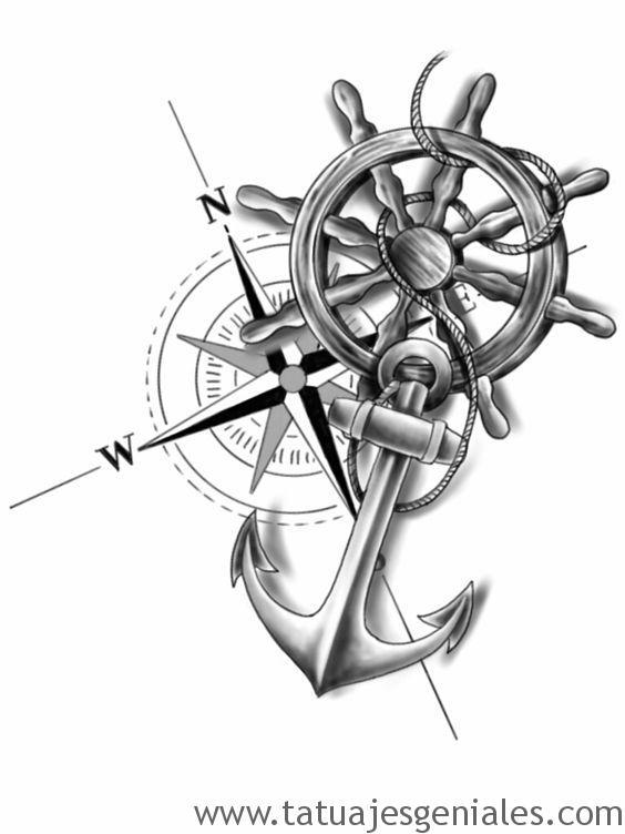 diseños tatuajes brújulas 8