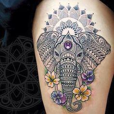 elefantes mandala 7 - tatuajes de elefantes