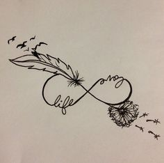 infinito con plumas 3 - tatuajes de infinito