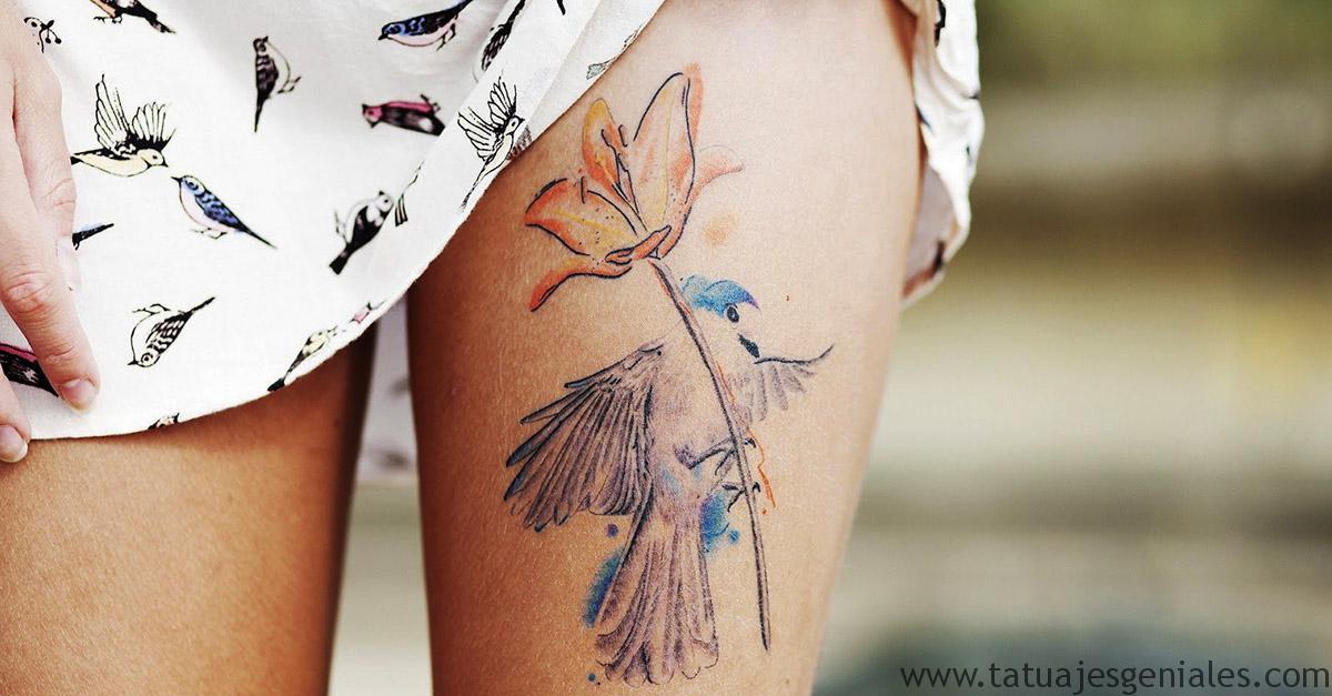 tatuaje pajaro y portada flor pierna