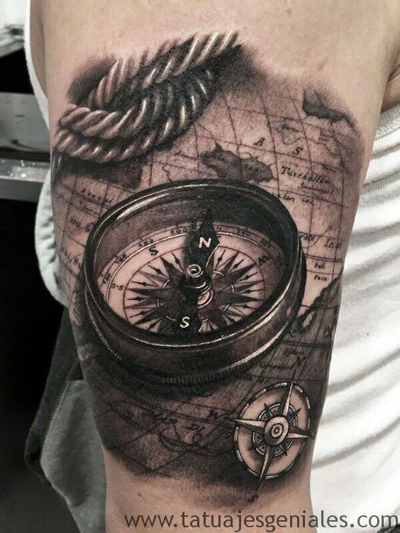60 Tatuajes De Brujulas Significados E Imagenes Tatuajes Geniales