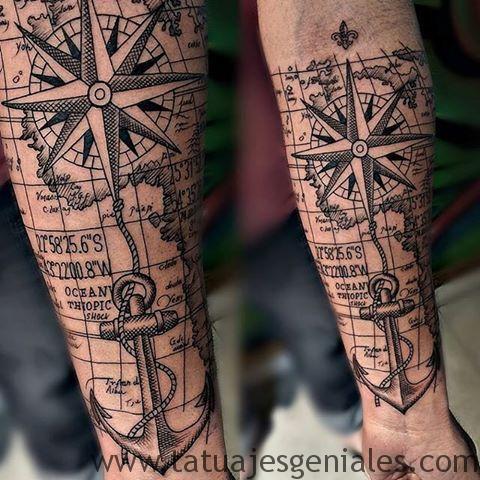 tatuajes brujula hombres 3
