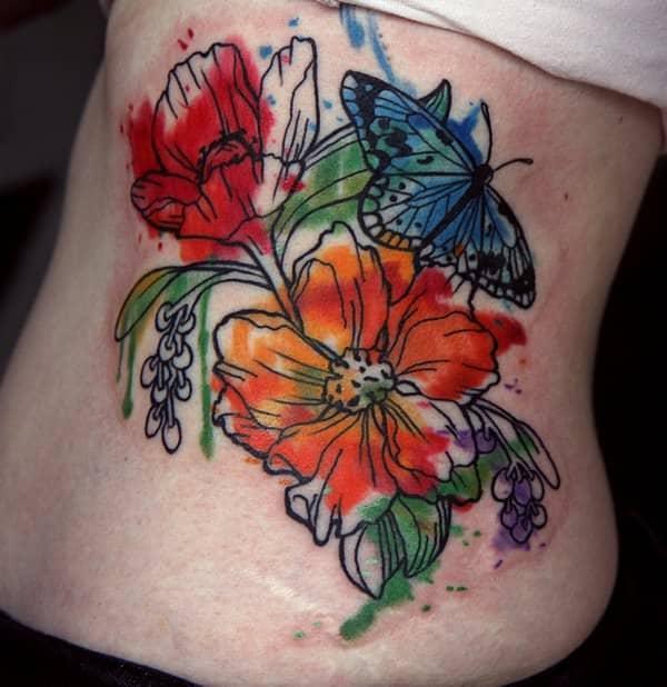 tatuajes de flores de colores 4