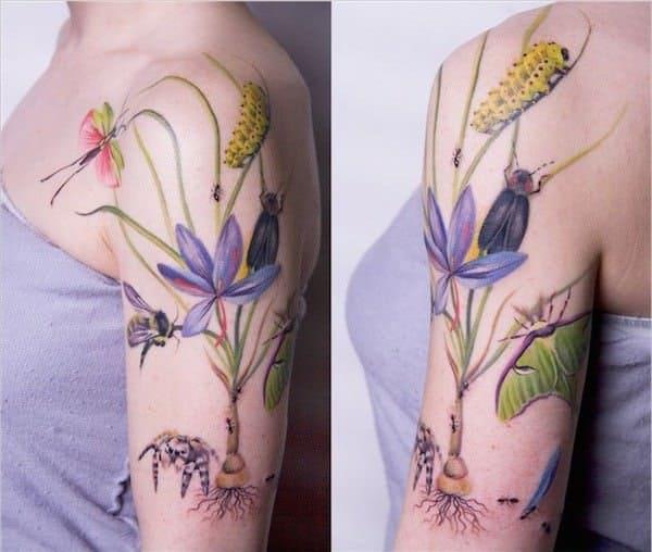 tatuajes de flores de colores 5