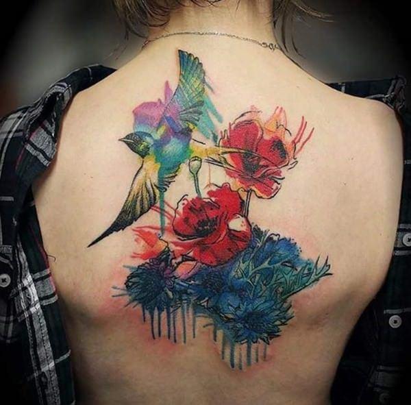 tatuajes de flores en la espalda 13