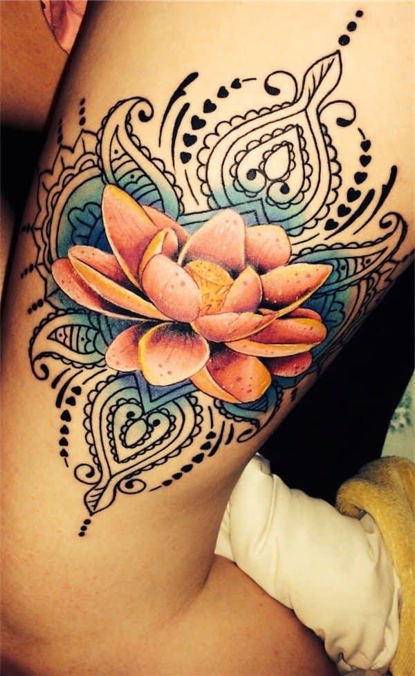 tatuajes de flores en la pierna 1