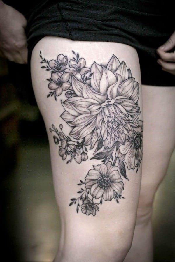 tatuajes de flores en la pierna 2