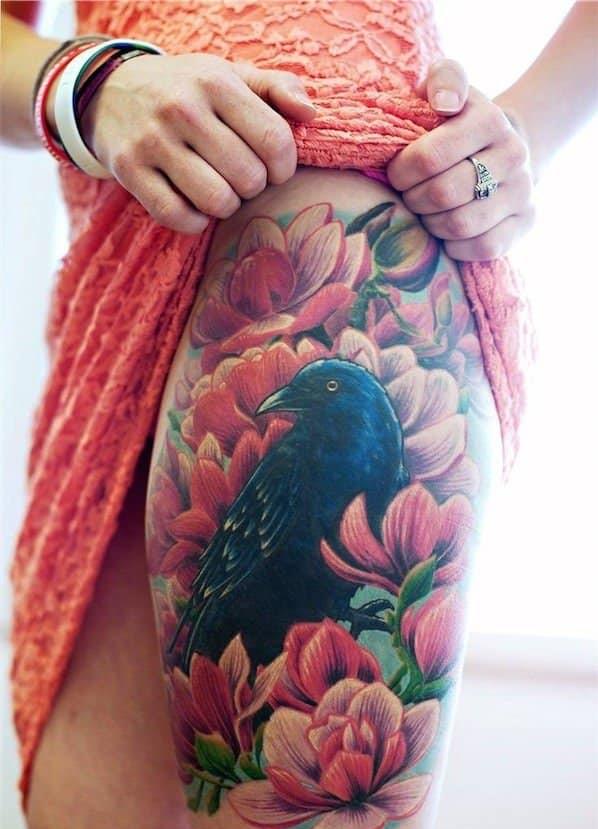 tatuajes de flores en la pierna 3