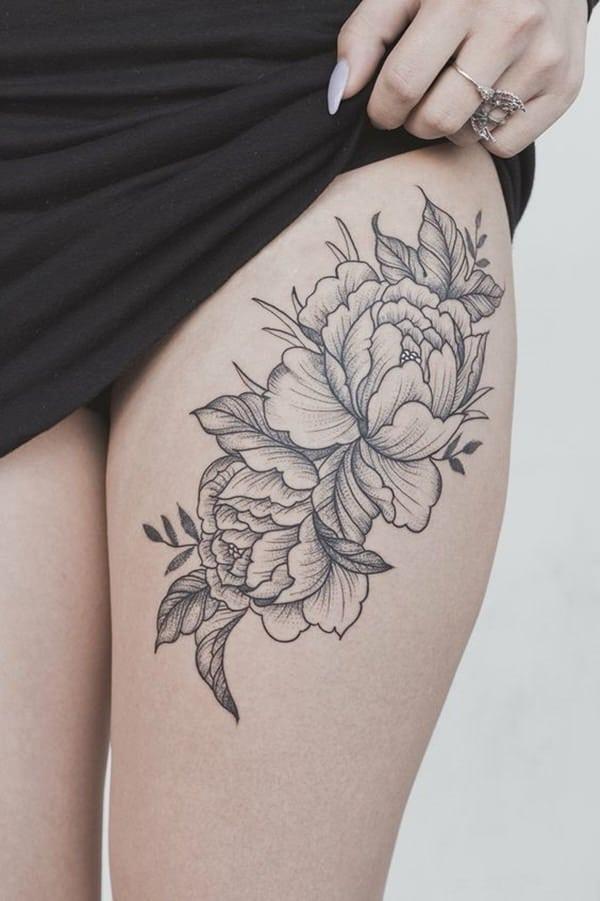 tatuajes de flores en la pierna 8