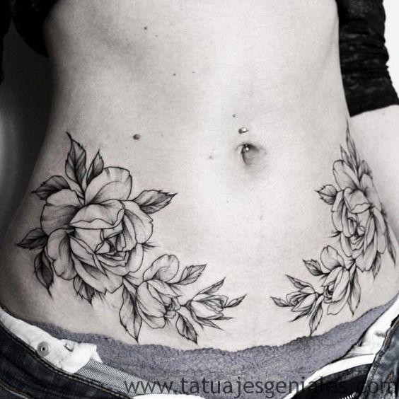 tatuajes enla caderas rosas 4