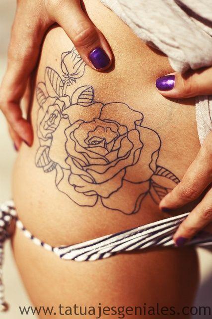 tatuajes enla caderas rosas 5