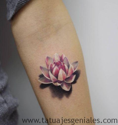 tatuajes flor loto 3d 3