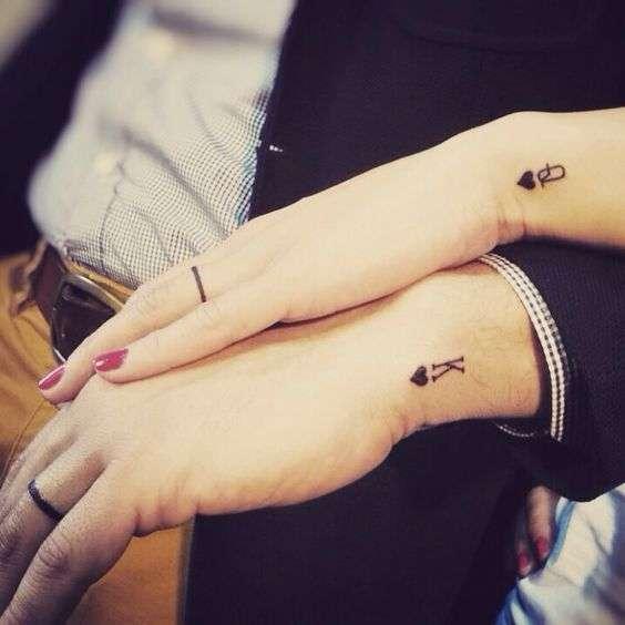 tatuajes para parejasreina y rey de corazones