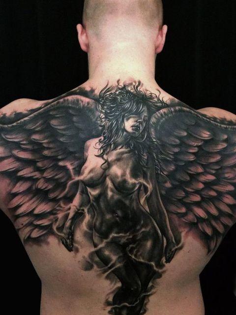 en la espalda 10 - tatuajes de ángeles
