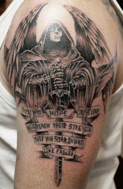 guerrero.jpgs en brazo 1 - tatuajes de ángeles