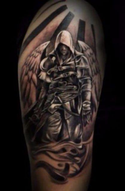 guerrero.jpgs en brazo 11 - tatuajes de ángeles