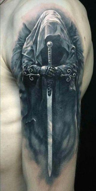 guerrero.jpgs en brazo 4 - tatuajes de ángeles