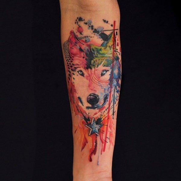 tatuajes de loboen acuarela significado de tatuajes de lobos 4