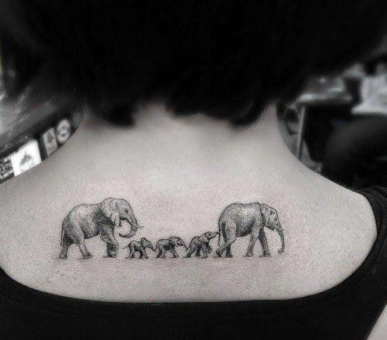 familia de elefantes 2 - tatuajes de familia