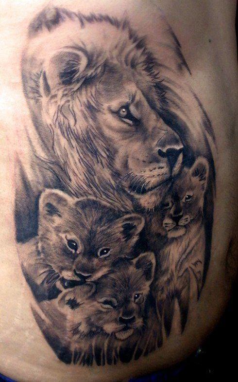 familia de leones 3 - tatuajes de familia