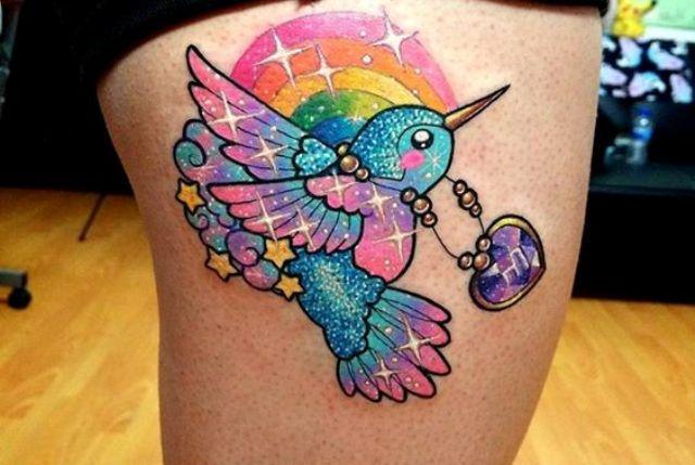 colibri a color 1 - tatuajes de colibrí