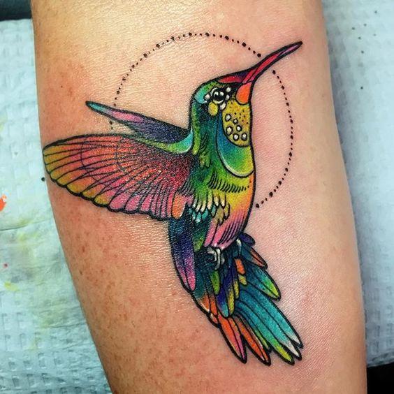 colibri a color 4 - tatuajes de colibrí