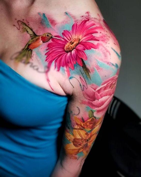 colibri con flores 2 - tatuajes de colibrí