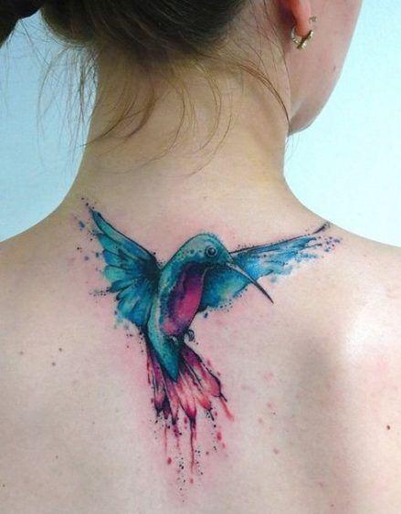colibri en la espalda 2 - tatuajes de colibrí