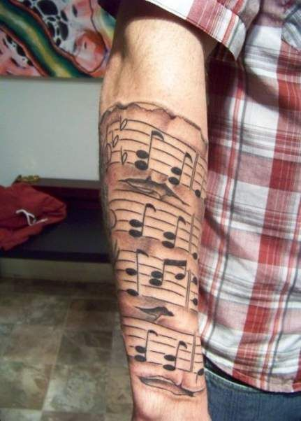 tatuajes notas musicales para hombres 2