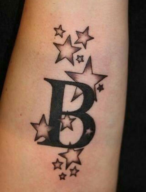iniciales con estrellas 2 - tatuajes de iniciales